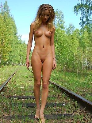 Blonde on a railway
